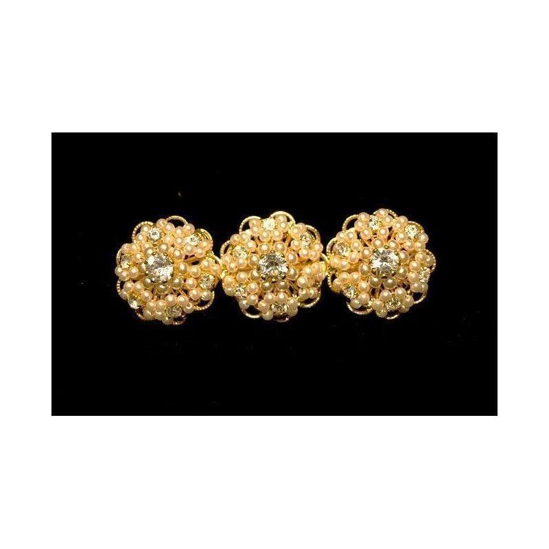 Broche mantilla 7006, cristal, oro.