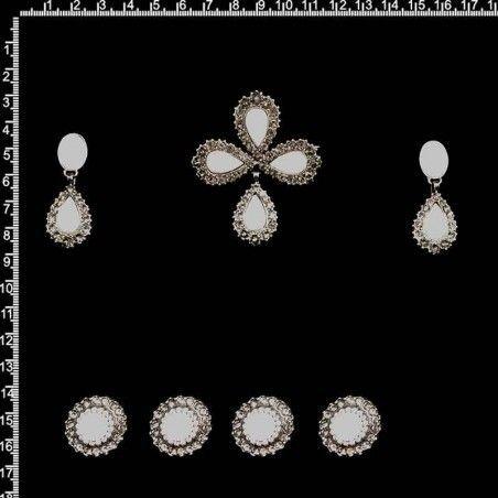 Aderezo fallera 254, nácar, black diamond, plata óxido.