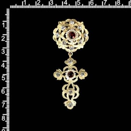 Cruz capona 229, perla natural, rubí, oro.