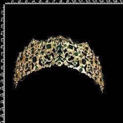 Peineta 801 para aderezo de castellonera, todo esmeralda, oro.