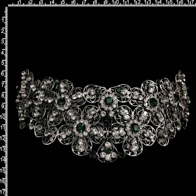 Peineta castellonera 2108, esmeralda, plata óxido.