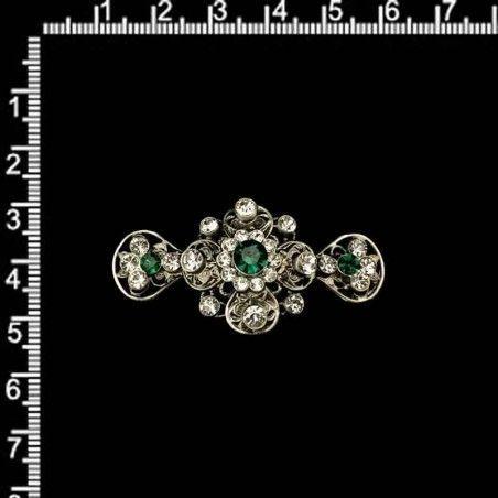 Broche 2108, esmeralda, plata óxido.