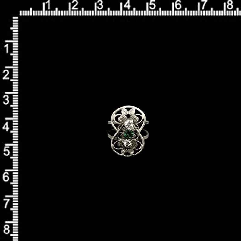 Anillo 2108, esmeralda, plata óxido.