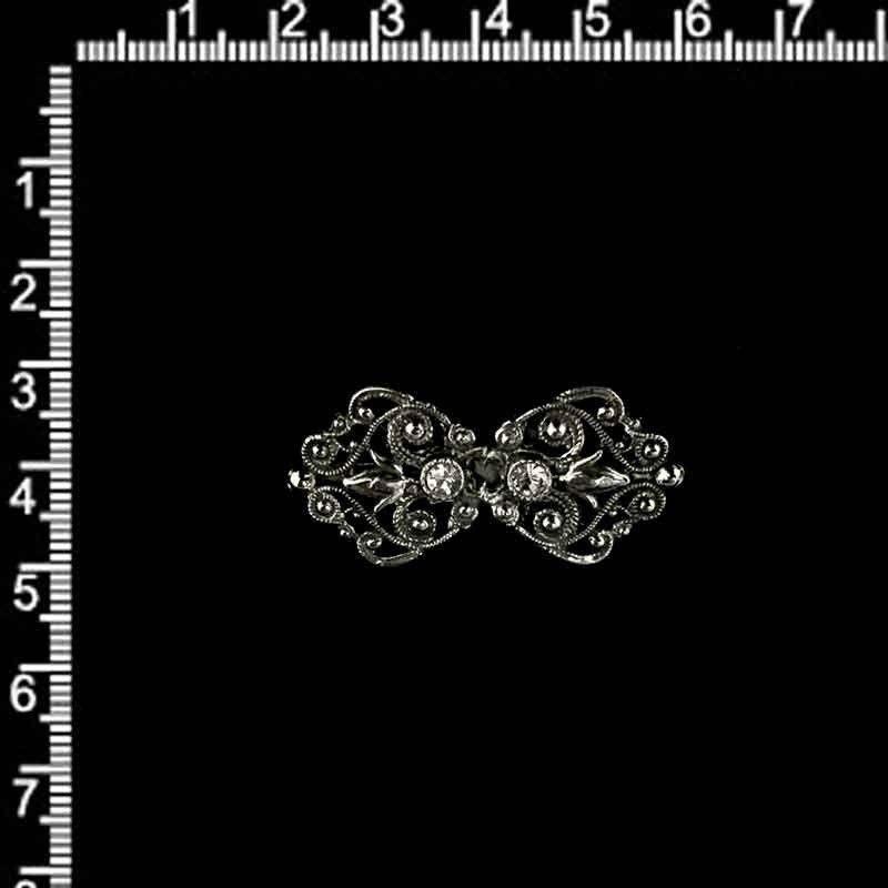 Broche 1785, cristal, plata vieja.