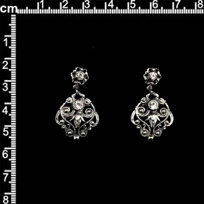 Pendientes 1785, cristal, plata vieja.