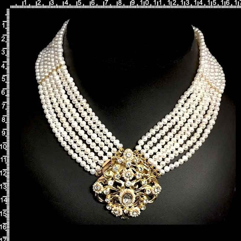 Collar 244, 1 centro, 7 vueltas, perla natural, cristal, oro.