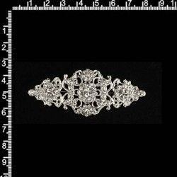 Broche mantilla 2104, cristal, plata.