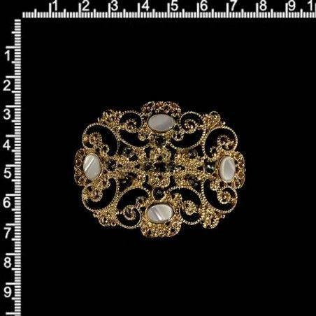 Hebilla 1059 nácar, black diamond, oro.
