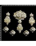 Aderezo fallera 210, perla natural, cristal, oro.