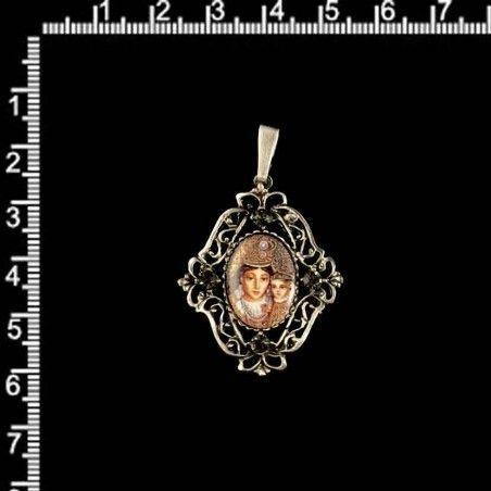 Colgante 13133 Desamparados esmalte, black diamond, plata óxido.