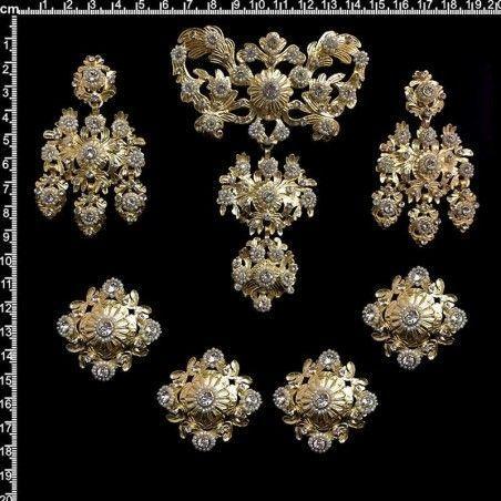Aderezo de valenciana 263, cristal, oro.