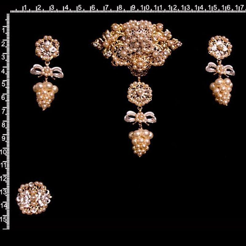 ADEREZO 9014, racimo, cristal, combinado plata-oro.