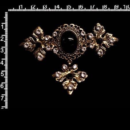 Joya huertana 9301, negro(jet)-cristal, latón óxido.