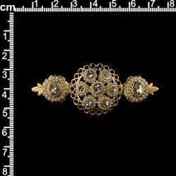 Broche mantilla 930, perla natural, cristal, oro.