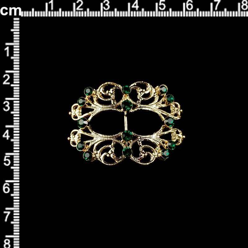Hebilla 9708, esmeralda todo, oro.