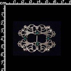Hebilla 9708, esmeralda-cristal, rodio.