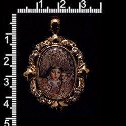 Colgante 5410, Virgen de los Desamparados, cristal, oro.