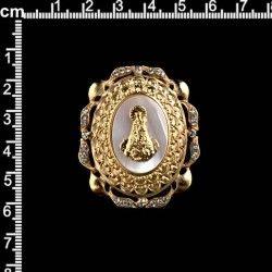 Colgante 438, nácar, virgen, cristal, oro.